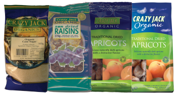 Food packaging for dried raisins, dried apricots and organic cane sugar
