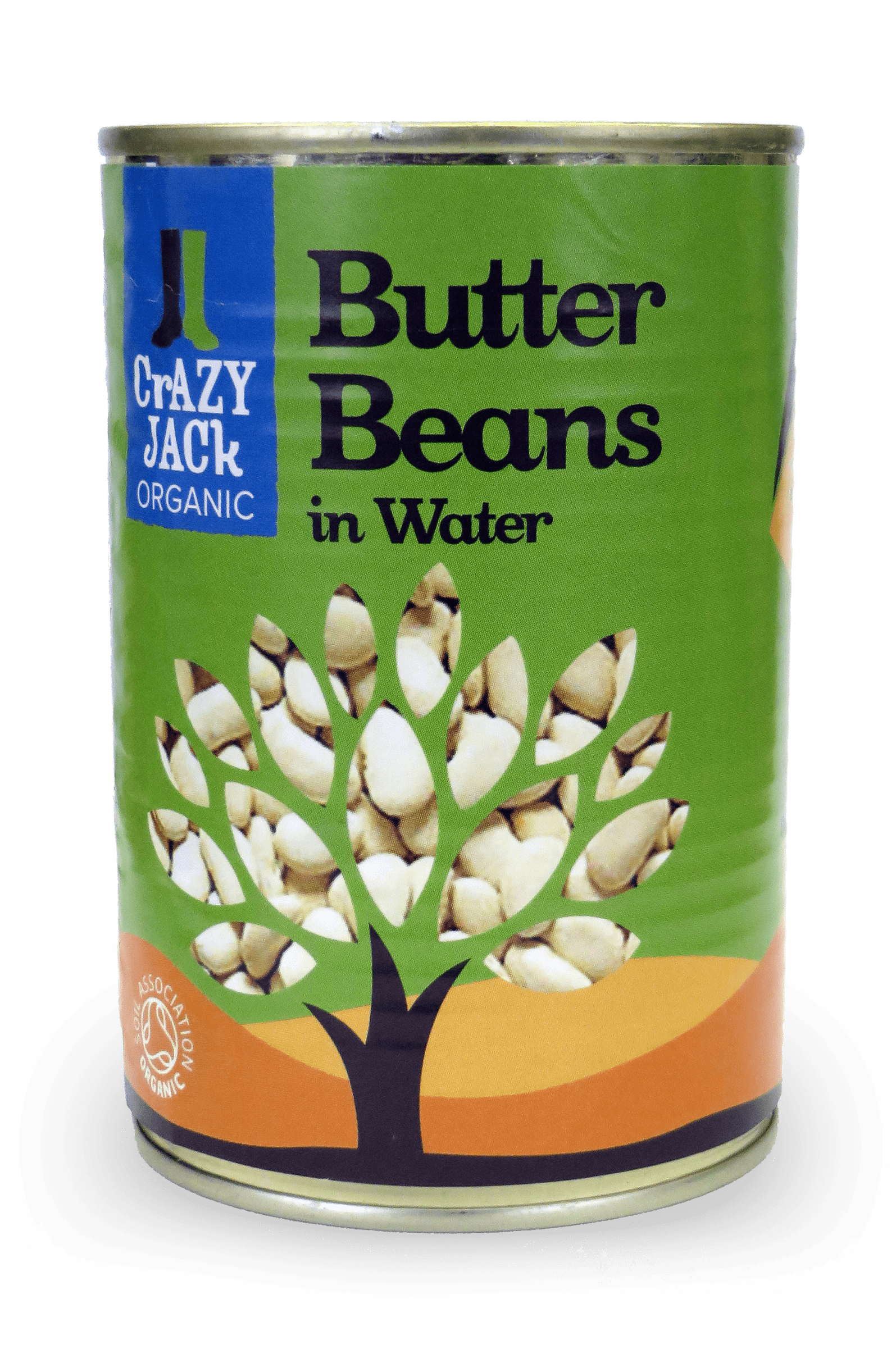 A tin of organic butter beans in water