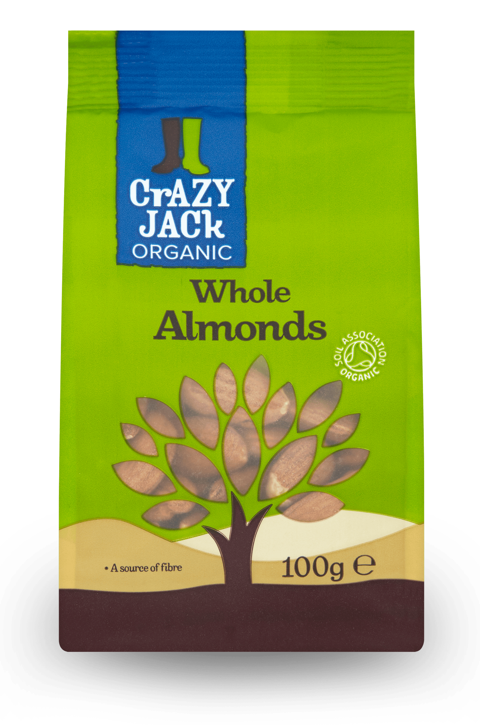 100g packet of organic whole almonds