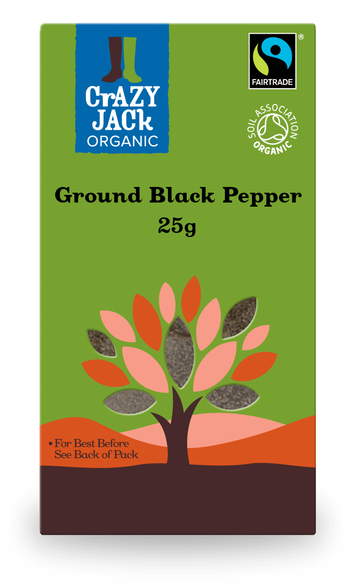 25g packet of organic ground black pepper