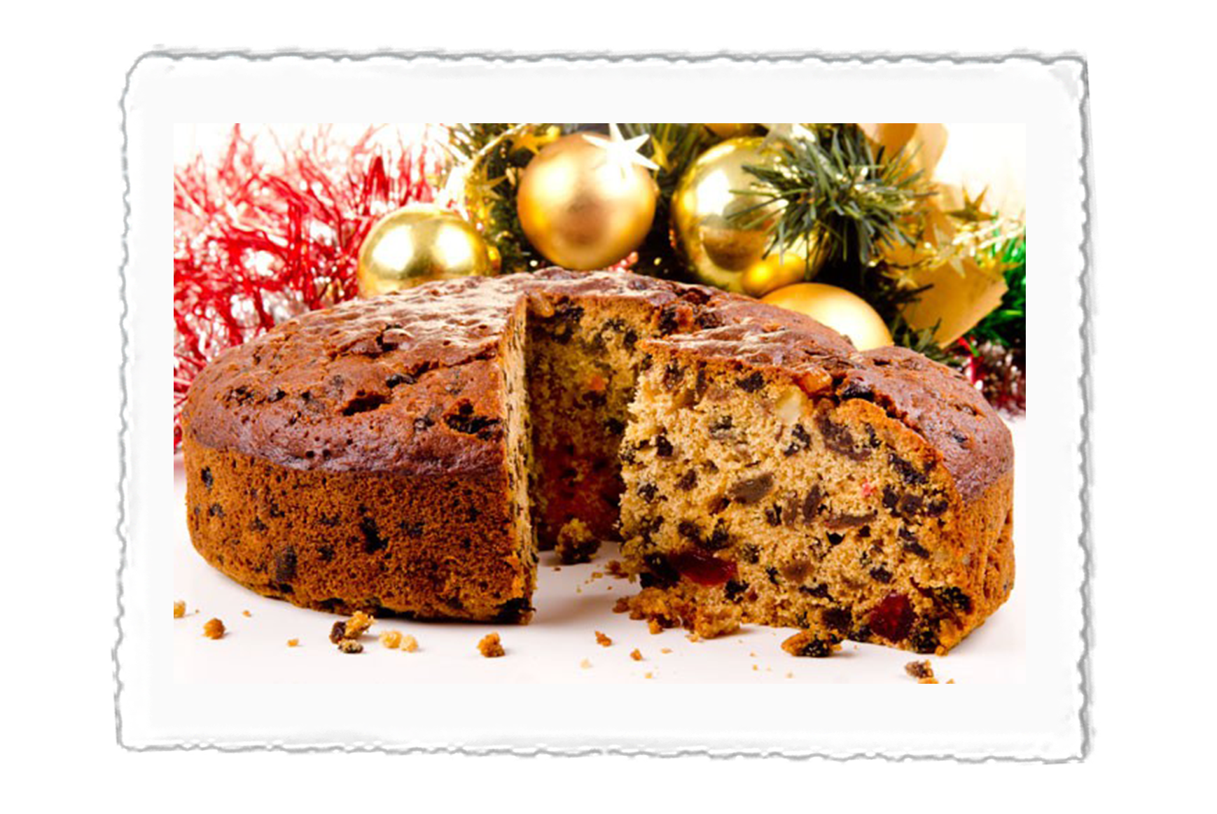 Christmas style picture of our Crazy Jack Christmas Cake