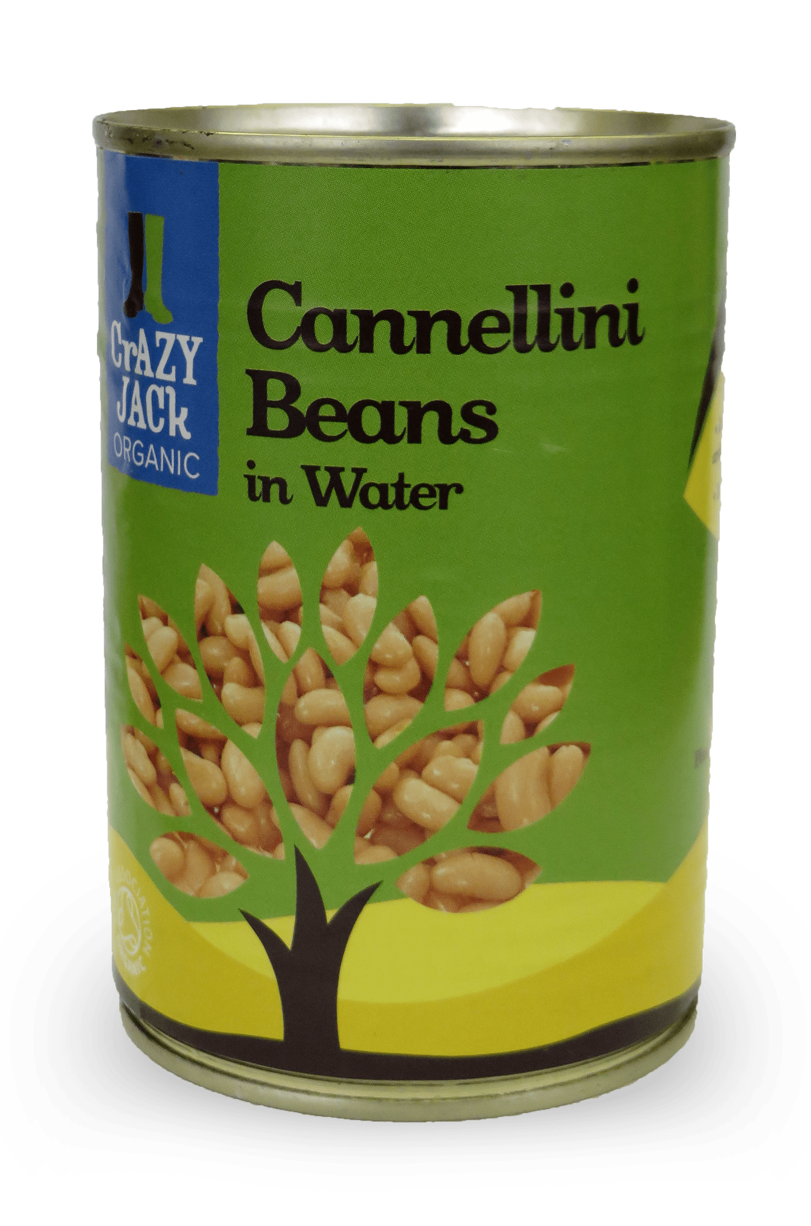 A tin of organic cannellini beans in water