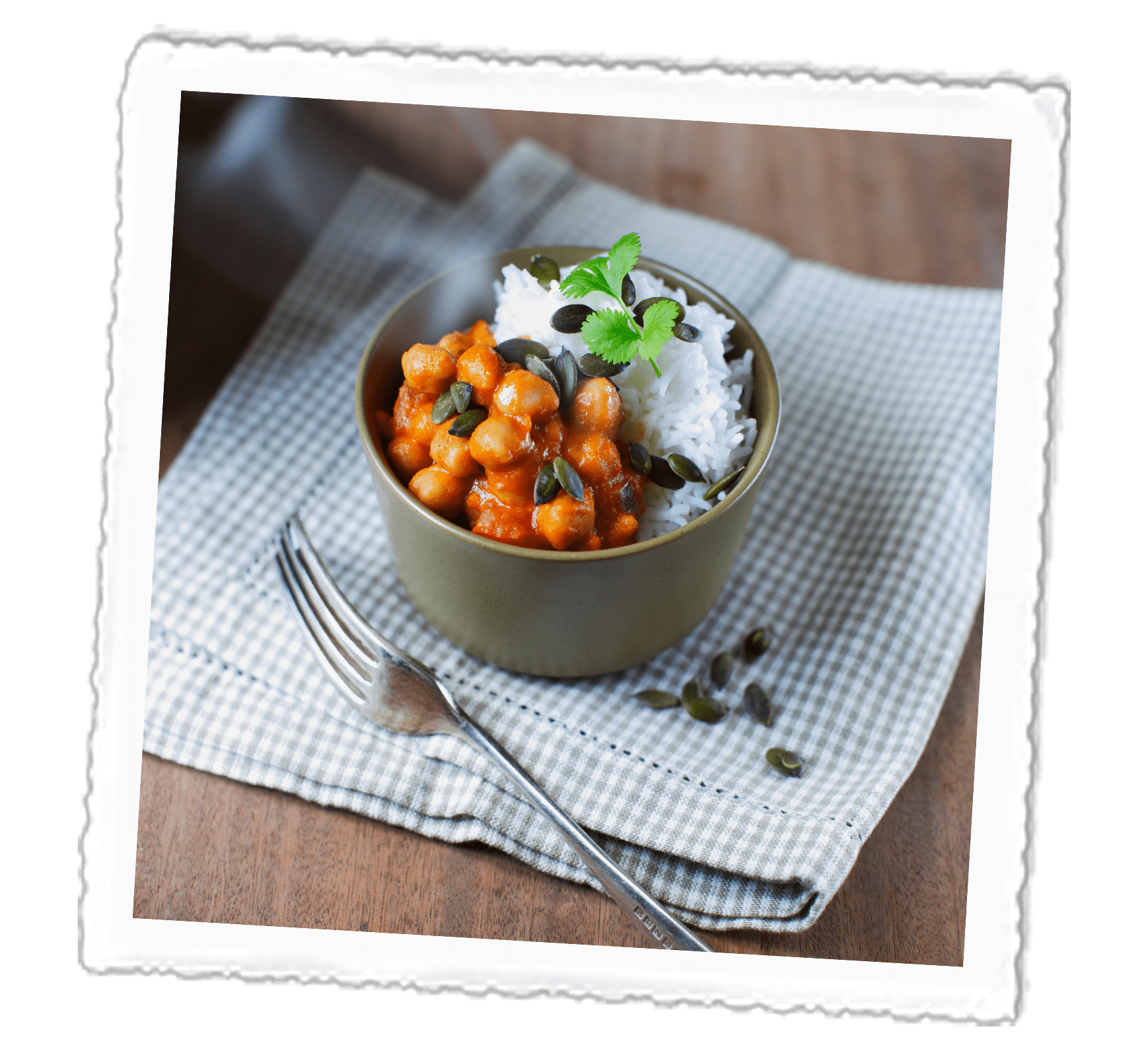 Chickpea Curry with Toasted Pumpkin Seeds