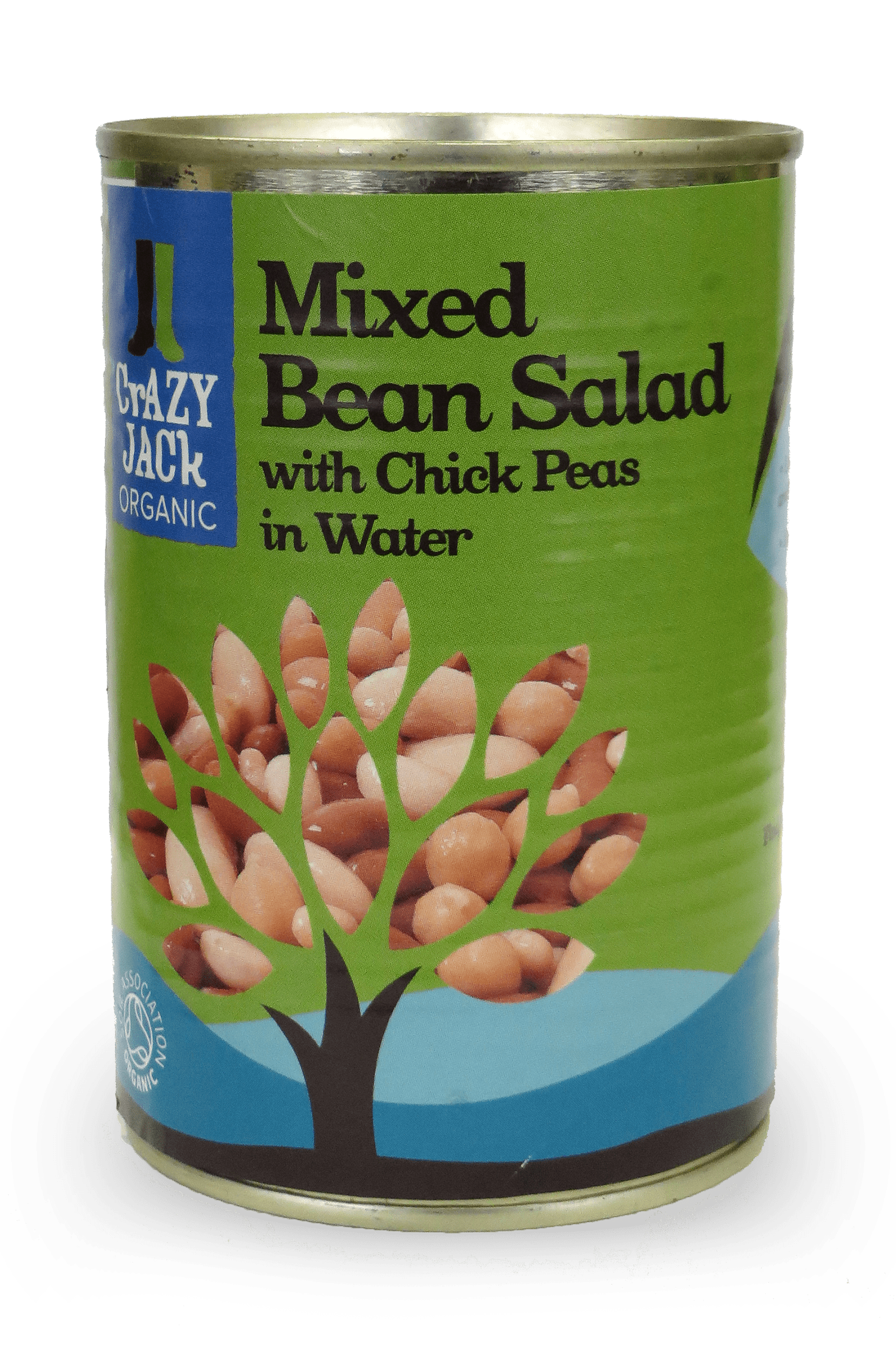 A tin of organic mixed bean salad with chick peas in water