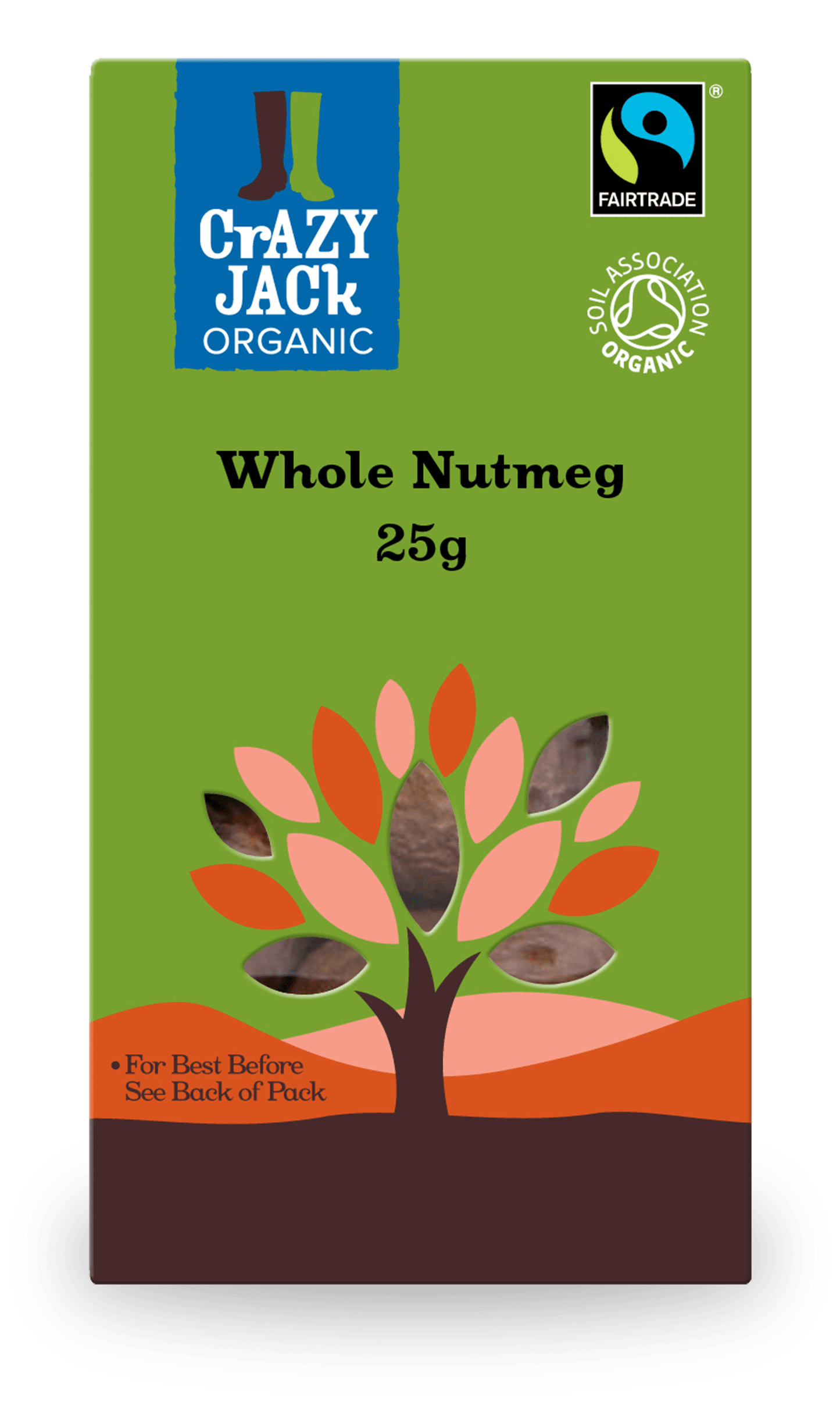 25g packet of organic whole nutmeg