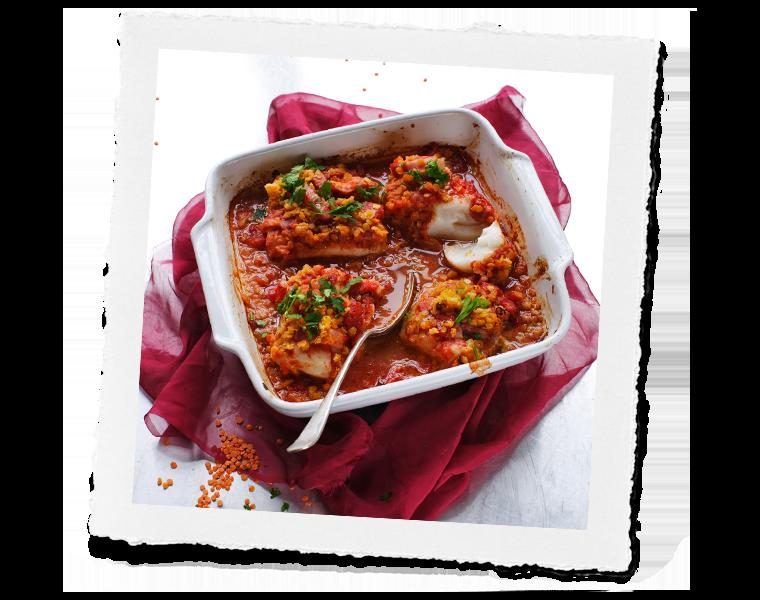 roast cod and lentis