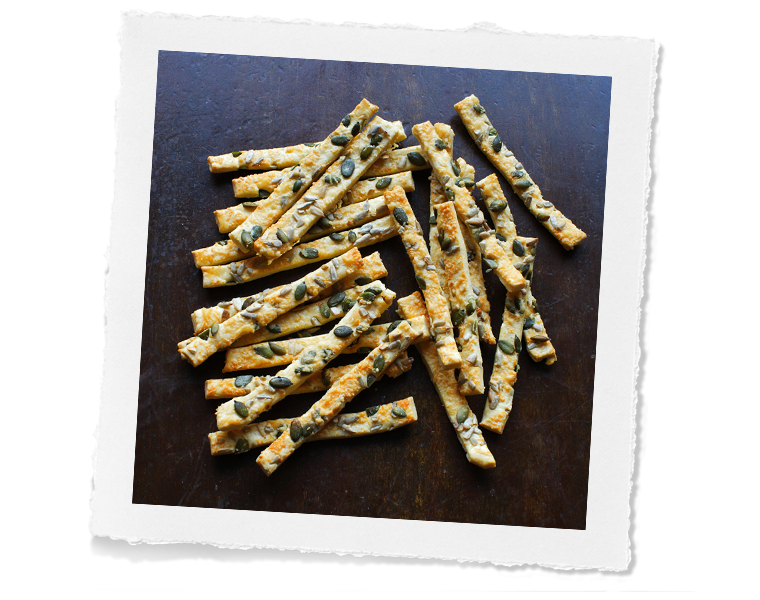 Seeded cheese straws