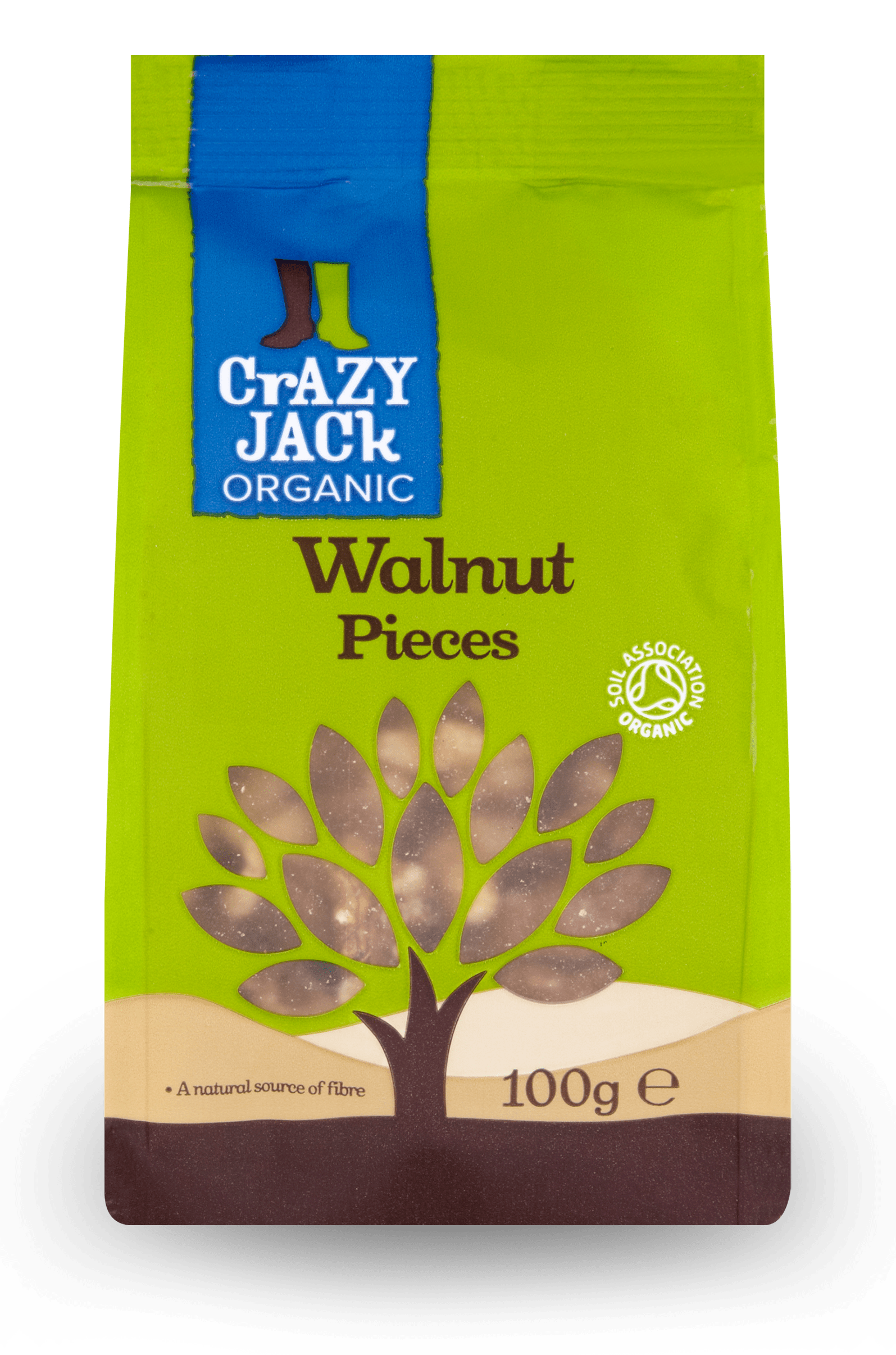 100g packet of organic walnut pieces