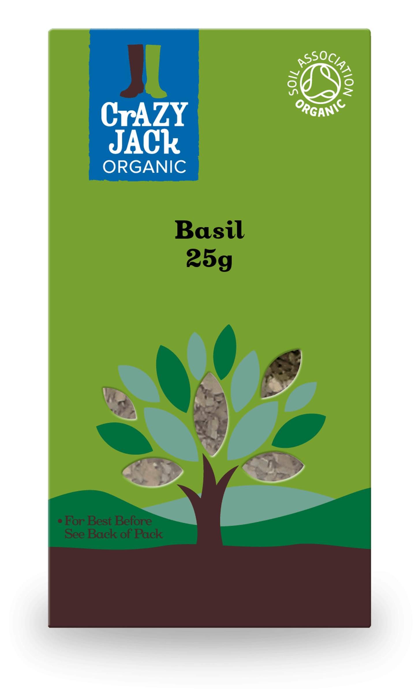 Packaging for 25g of basil