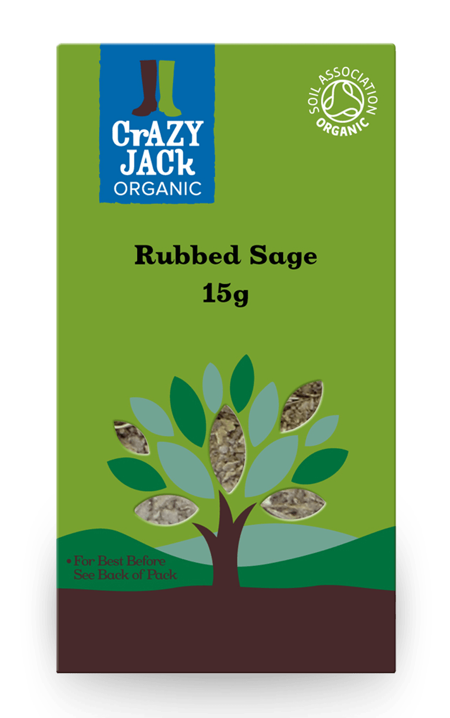 Packaging for 15g of rubbed sage