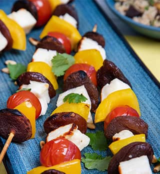 A photo of Halloumi, Apricot Kebabs with Summer Couscous